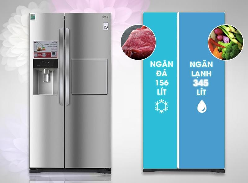 Tủ lạnh Side by Side của LG có dung tích lớn