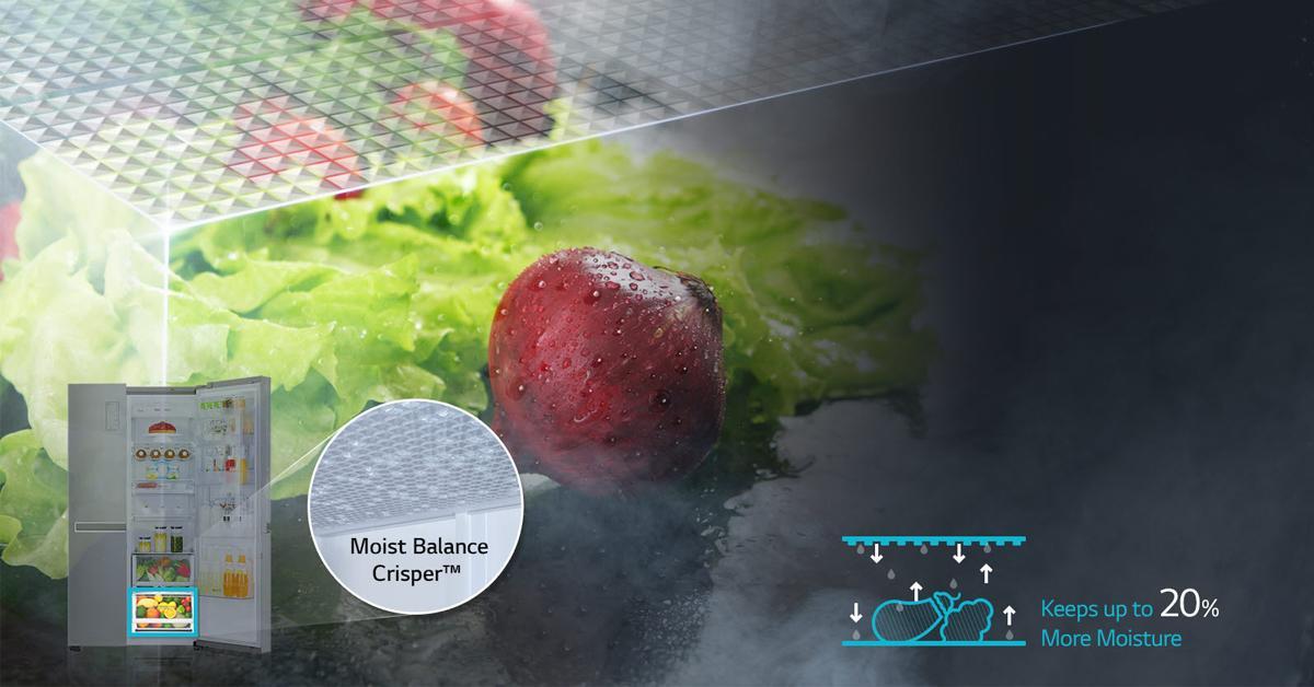 Tủ lạnh Side by Side của hãng LG cho thực phẩm được tươi ngon lâu hơn