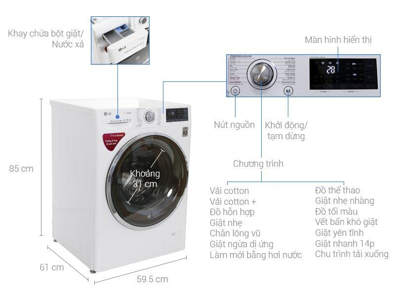 Mẫu máy giặt LG cửa dưới lồng ngang