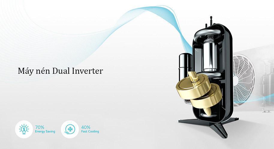 Máy nén Dual Inverter trên máy lạnh của LG giúp tiết kiệm năng lượng hơn
