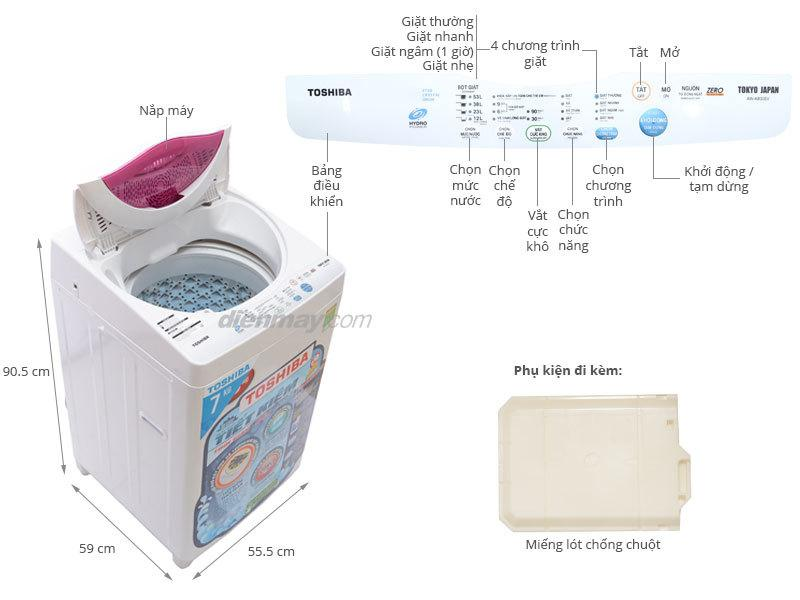 Máy giặt lồng đứng Toshiba AW-A800SV(WL), 7kg là một sản phẩm của thương hiệu Toshiba - Nhật Bản