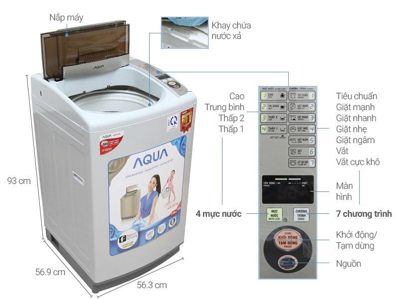 Máy giặt AQUA AQW-S72CT H2, 7.2kg có thùng giặt nghiêng cùng tác động giặt 3 chiều
