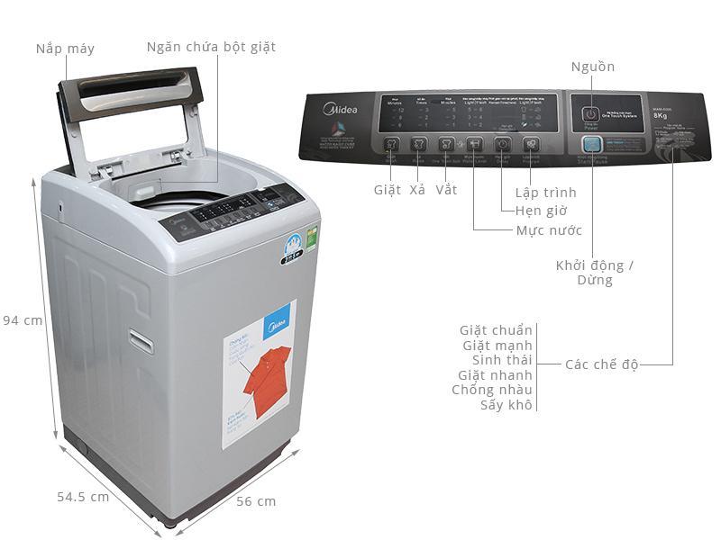 Máy giặt lồng đứng Midea MAM-8006 với khối lượng giặt 8kg phù hợp với gia đình có nhu cầu giặt trung bình